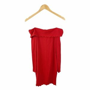 Nwt Iris Boutique Red Ribbed Off Shoulder Dress